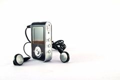 Mp3 player and headphones Royalty Free Stock Photos