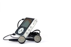 Mp3 player and headphones Royalty Free Stock Image