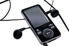 Mp3 player and headphones Stock Images