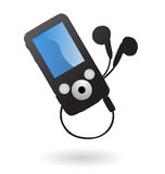 Mp3 player isolated. Illustration of simple mp3 player with earphones Royalty Free Stock Photo