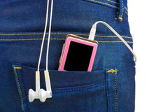 MP3 player in jeans pocket Stock Image