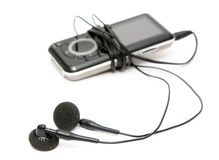 MP3-Player mit Kopfhörern Lizenzfreie Stockfotos