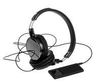 MP3-Player mit Kopfhörern Stockbild