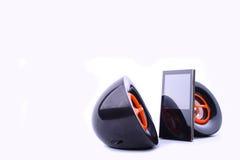 MP3-Player mit Lautsprechern stockbild