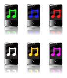 MP3 Player Music. Illustration of six generic touch screen MP3 players isolated on a white background with a luminous musical note symbol on each screen in Stock Image