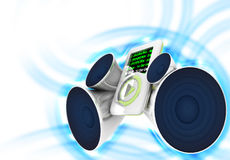 Mp3 player sound. An mp3 player with speakers producing high sound Stock Photography