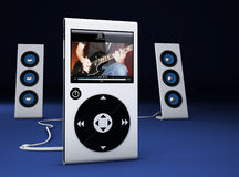 MP3 player and speakers Royalty Free Stock Photos