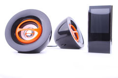 Mp3 player and speakers Royalty Free Stock Photography