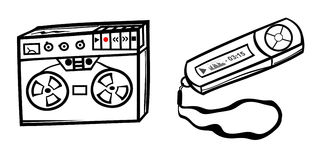 Mp3 player and tape. Mp3 player and old tape recorder Stock Images