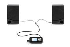 MP3-Player und Lautsprecher Lizenzfreie Stockbilder