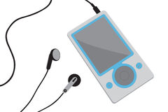 Mp3 player vector. Vector image of a mp3 player with earphones vector illustration