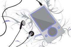 Mp3 player vector. Vector image of a mp3 player with earphones Stock Photography