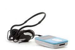Mp3 player on white background. Blue MP3 player with headphones on a white background Stock Photos