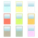 MP3 Players. With Different Colors Isolated on a White Background Stock Photo