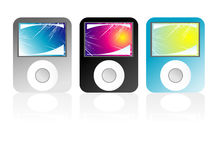 Mp3 players. Colored mp3 players with fantasy abstract screen background Royalty Free Stock Photo