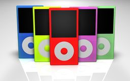 Mp3 players multicolored Stock Photography