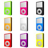 Mp3 Players in Various Trendy Colors Stock Images