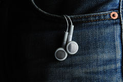 Mp3 in pocket Stock Photo