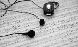 Mp3 speler en oortelefoons Royalty-vrije Stock Foto