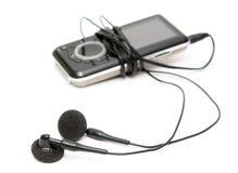 Mp3 speler met hoofdtelefoons Royalty-vrije Stock Foto's