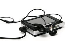 Mp3 speler met oortelefoons Royalty-vrije Stock Afbeeldingen