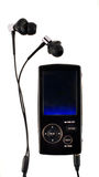 Mp4 player. A black mp4 player with a par of modern headphones Royalty Free Stock Photos