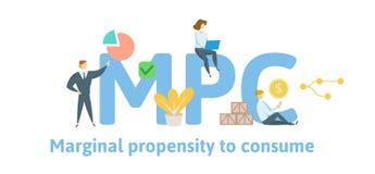 MPC, marginale Konsumquote Konzept mit Schlüsselwörtern, Buchstaben und Ikonen Flache Vektorillustration ein getrennt worden stock abbildung