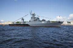 MPC Urengoy on the river Neva - the participant of parade of military ships. Navy day in St. Petersburg. ST. PETERSBURG, RUSSIA - JULY 25, 2015: MPC Urengoy on royalty free stock photo