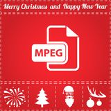 MPEG Icon Vector. And bonus symbol for New Year - Santa Claus, Christmas Tree, Firework, Balls on deer antlers Royalty Free Stock Photo