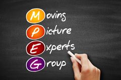 MPEG - Moving Picture Experts Group acronym, technology concept on blackboard