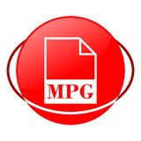 Mpg file vector illustration, Red icon. Red icon, mpg file vector illustration, vector icon stock illustration
