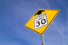30 mph ahead sign. royalty free stock images