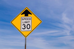 30 mph ahead sign. royalty free stock photos