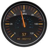 MPH-Meilen pro Stunden-Geschwindigkeitsmesser-Entfernungsmesser-Automobilarmaturenbrett-Messgerät-Vektor-Illustration lizenzfreies stockbild