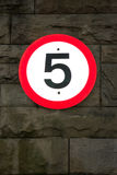 5mph (5 miles per hour) road sign Stock Images