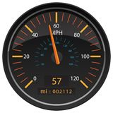 MPH Miles per Hour Speedometer Odometer Automotive Dashboard Gauge Vector Illustration. MPH Miles per Hour car dashboard gauge indicator with large MPH and small royalty free illustration