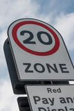 20 mph road sign Stock Photo