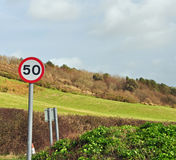 50 mph sign in countryside Royalty Free Stock Photos