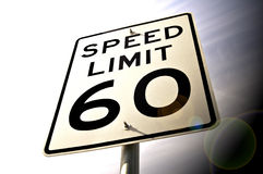 Speed limit sign. A 60 mph speed limit sign Royalty Free Stock Image