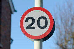 20 mph speed limit sign Stock Photography