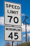 70 mph street sign stock photography