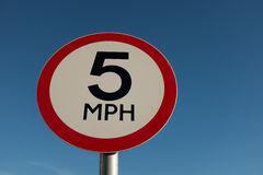 5 MPH traffic sign. Stock Photos
