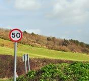 50 MPH unterzeichnen herein Landschaft Lizenzfreie Stockfotos