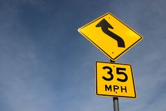 35 mph yellow traffic sign stock images