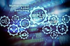 MPLS. Multiprotocol Label Switching. Routing Telecommunications Networks Concept on virtual screen. MPLS. Multiprotocol Label Switching. Routing vector illustration