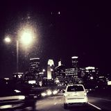 Mpls night skyline. Driving down 94 in Minneapolis, MN. Captured the twincities skyline , high in the night sky Royalty Free Stock Images