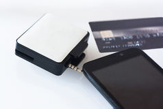 MPos machine for payment with smartphone Royalty Free Stock Images
