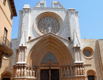 Mposing and beautiful entrance of the cathedral diTarragona in Spain Stock Photo