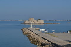 Mpoyrtzi fort. View of venetian fort mpoyrtzi at the port of the city of Nayplion at Argolida Gulf in Greece Royalty Free Stock Photography