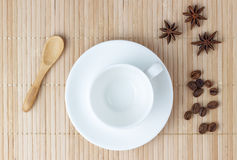 ?mpty cup of coffee on table Royalty Free Stock Image